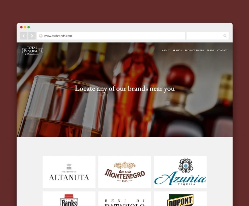 total beverage solution website - designed by ACS Creative 301-528-5575