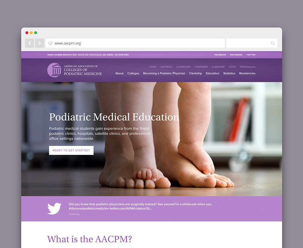 American Association of Colleges of Podiatric Medicine (AACPM) website - designed by ACS Creative 301-528-5575