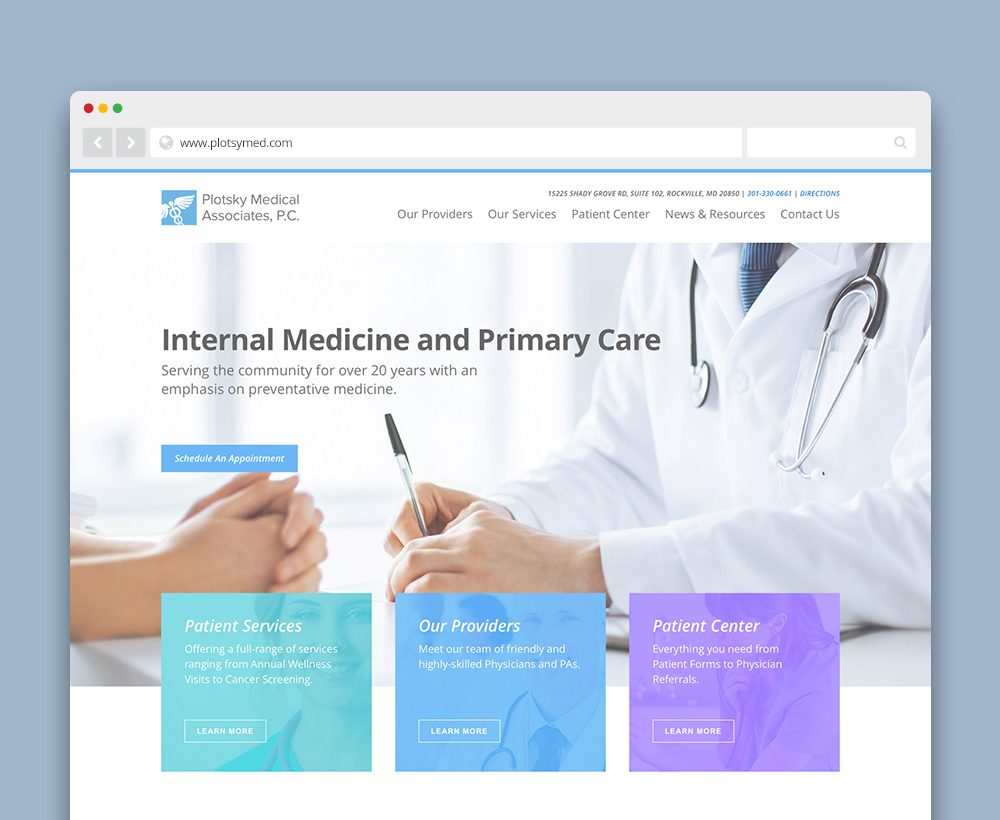 Plotsky Medical Associates website - designed by ACS Creative 301-528-5575