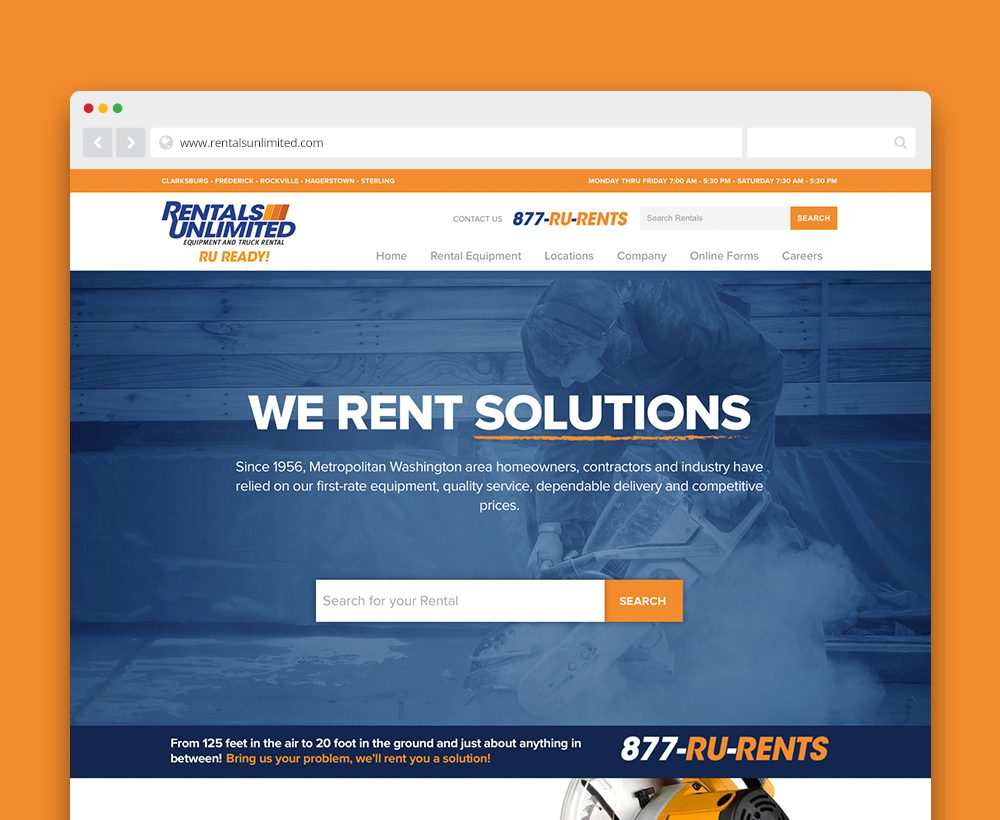 Rentals Unlimited website - designed by ACS Creative 301-528-5575