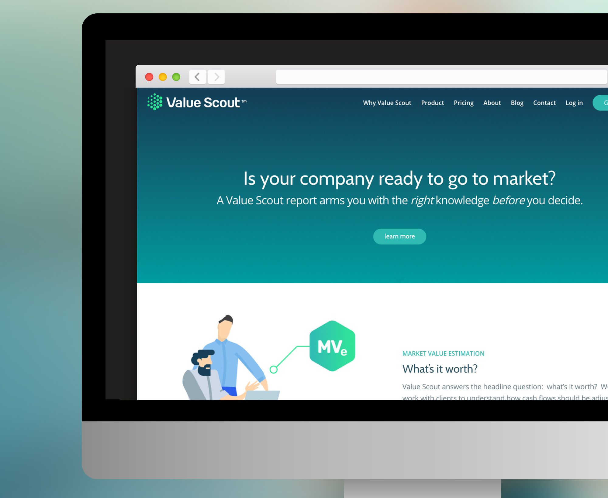 value scout homepage close up - acs creative website design branding