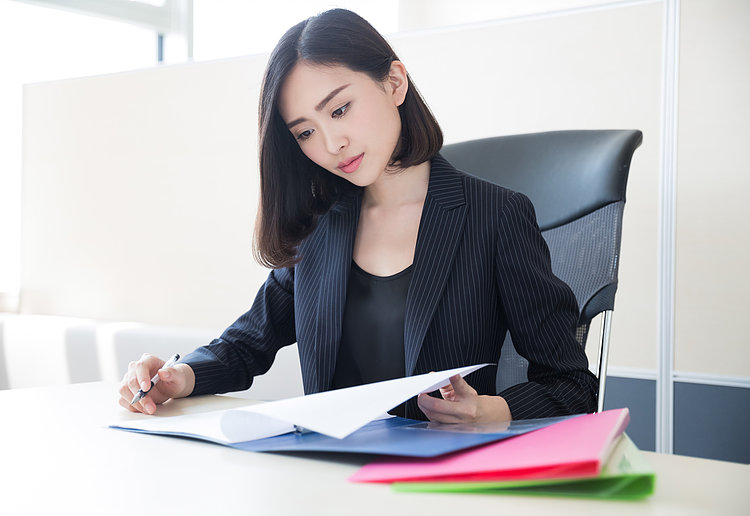 beautiful woman financial director, she audited financial statements
